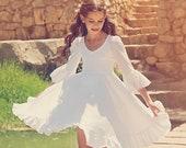 First Communion Dress, Girls and toddlers Wedding Dress,  White Flower Girl Dress, Bohemian Wedding