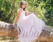 Junior Bridesmaid Boho White Lace Dress Flower Girl