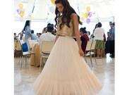 Gold Boho-chic Flower Girl Dress, Junior Bridesmaid Dress, Boho champagne skirt and gold top set, boho flower girl dress, Bohemian Wedding
