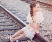 Blush Pink Flower Girls Dress with lace