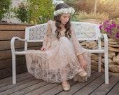 Blush Pink Flower Girl Dress First Communion White Lace