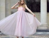 Floor Length Tulle Blush Pink Sequin Flower Girl dress