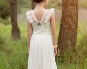 Maxi Ivory Flower Girl Dress, Floor Length Dress, Wedding Dress, Bohemian Wedding, boho flower girl dress, lace flower girl dress