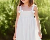 Girls birthday dress toddler white flower girl dress