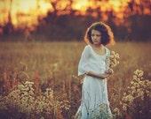 White chiffon bell sleeve Wedding Flower Girl Dress