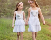 White Flower Girls Dress with Silver Sequin Heart