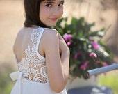 Wedding Ivory Lace Flower Girl Dress, Floor Length Lace Flower Girl Dress, Party Dress, Jr. Bridesmaid Dress, Bohemian Wedding