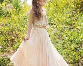 38c29e5cca Gold Boho-chic Flower Girl Dress