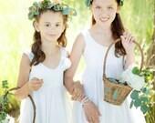 Double Ruffle Tulle Twirl  flower girl Dress, Tulle Ivory Bohemian Wedding