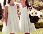 Sale Ivory Lace Flower Girl Dress, Bohemian Wedding, lace flower girl dress, boho flower girl dress, ivory flower girl, baby flower girl