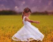 Double Ruffle Tulle Twirl  flower girl Dress, Bohemian Wedding, tulle dress, boho flower girl, boho wedding, boho dress girls