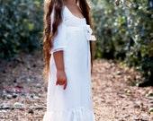 White chiffon bell sleeve Flower Girl Dress Bohemian Wedding
