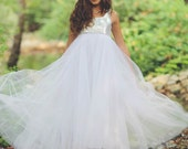 Silver Sequin Flower Girl dress With Tulle, floor length, Christmas silver dress, Holiday Gown, Bohemian Wedding