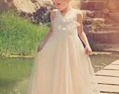 Flower Girl Tulle Dress,Girl Long Champagne Gown,Ruffle Tulle flower girl Dress,Champagne Wedding,Junior Bridesmaid Dress,Bohemian Wedding