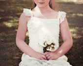 SALE/// Ivory Flower Girl Dress with layers of chiffon, boho flower girl dress, boho wedding flower girl dress, ivory flower girl