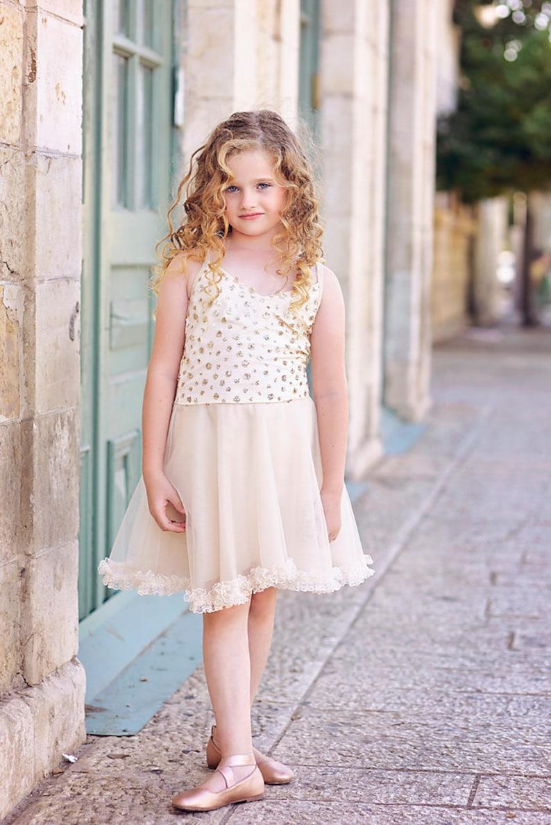 Gold Flower Girl Tutu Dress Toddler Girl Dress Bridesmaids Dress Birthday Girl Dress