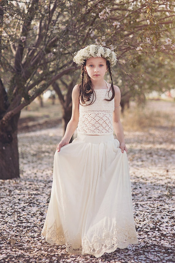 83cb07f90b3 Boho Crochet Lace Flower Girl Dress Junior Bridesmaid Dress