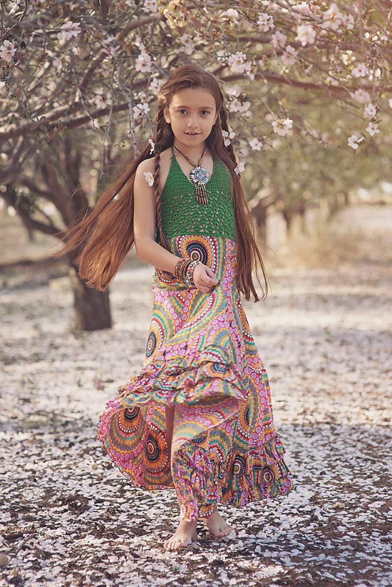 8d466364965 Crochet papillon avec jupette Boho robe verte robe de fille