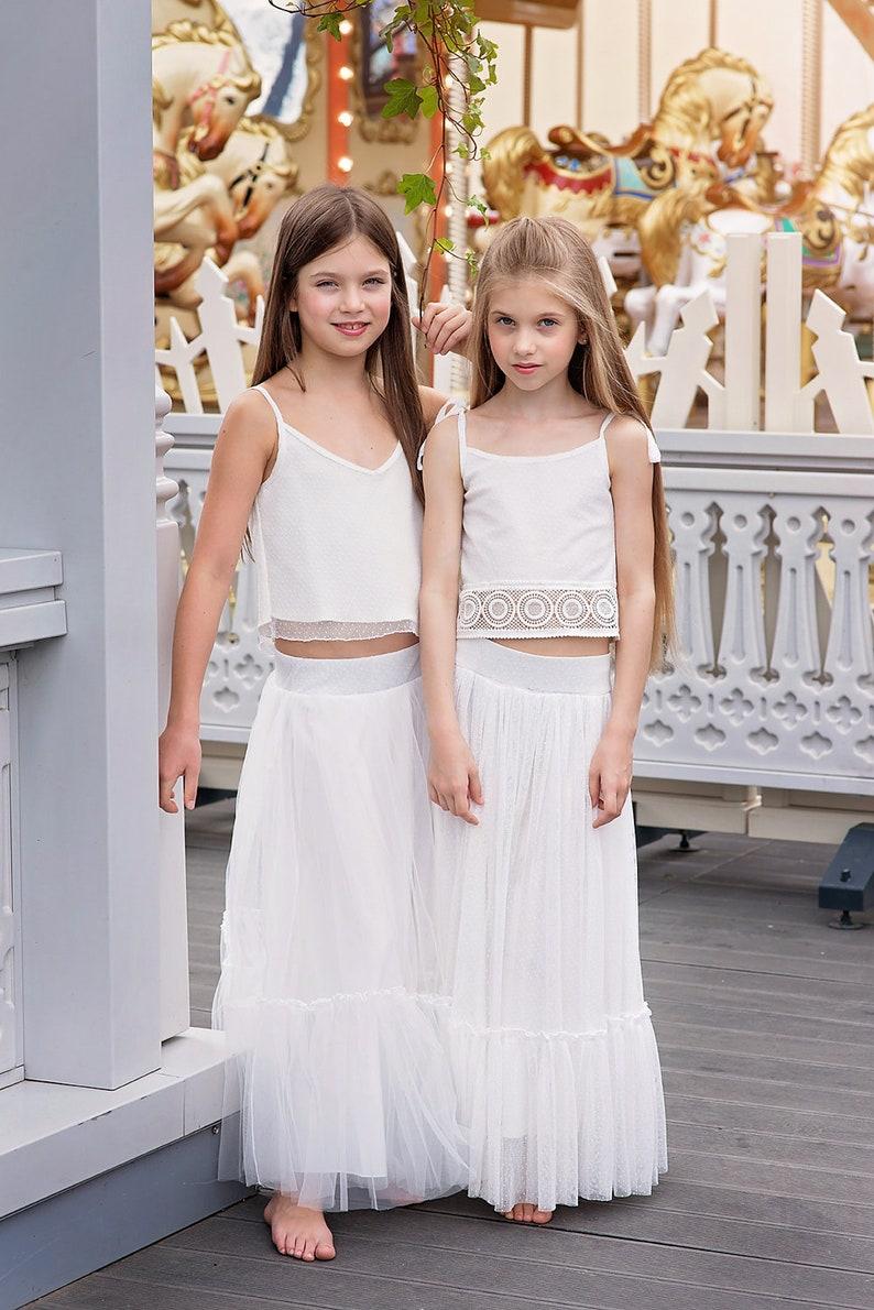 80e60be79cb Boho Flower Girl Dress Junior Bridesmaid Dress skirt and top