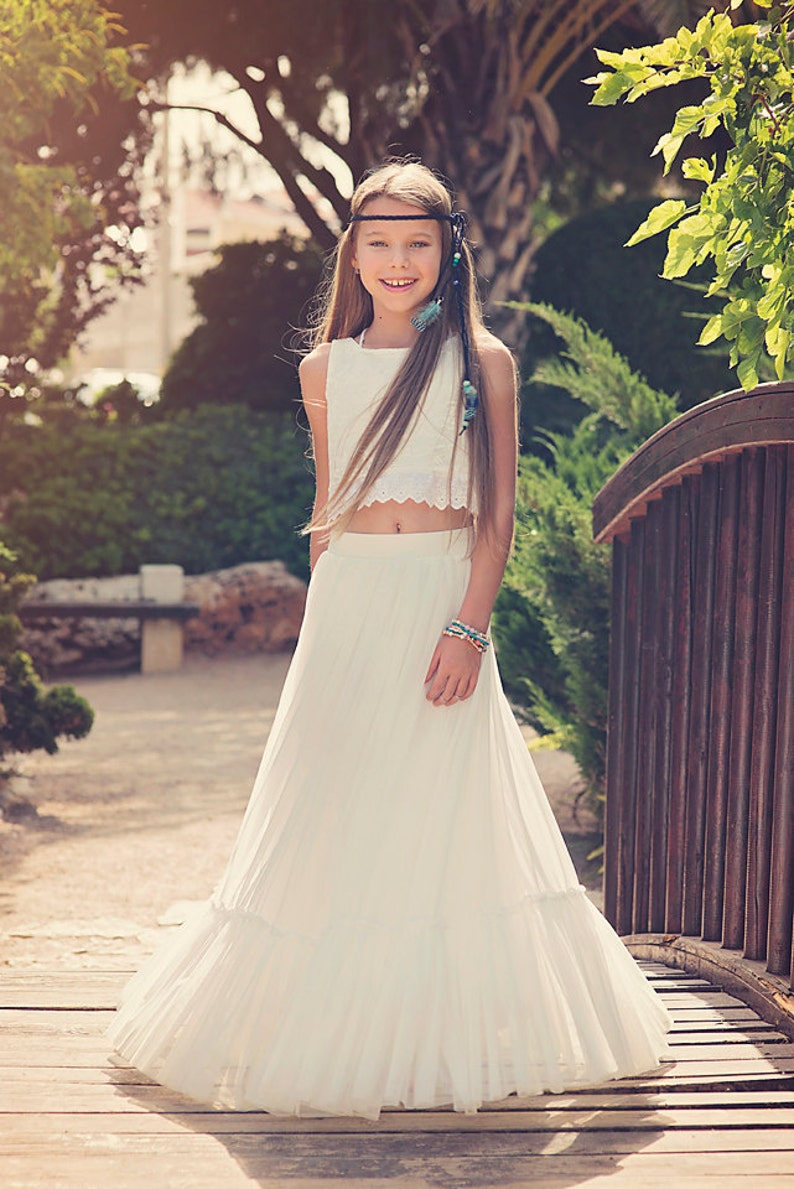 2b6d1cca8f7 Boho-chic Flower Girl Dress Junior Bridesmaid Dress Boho
