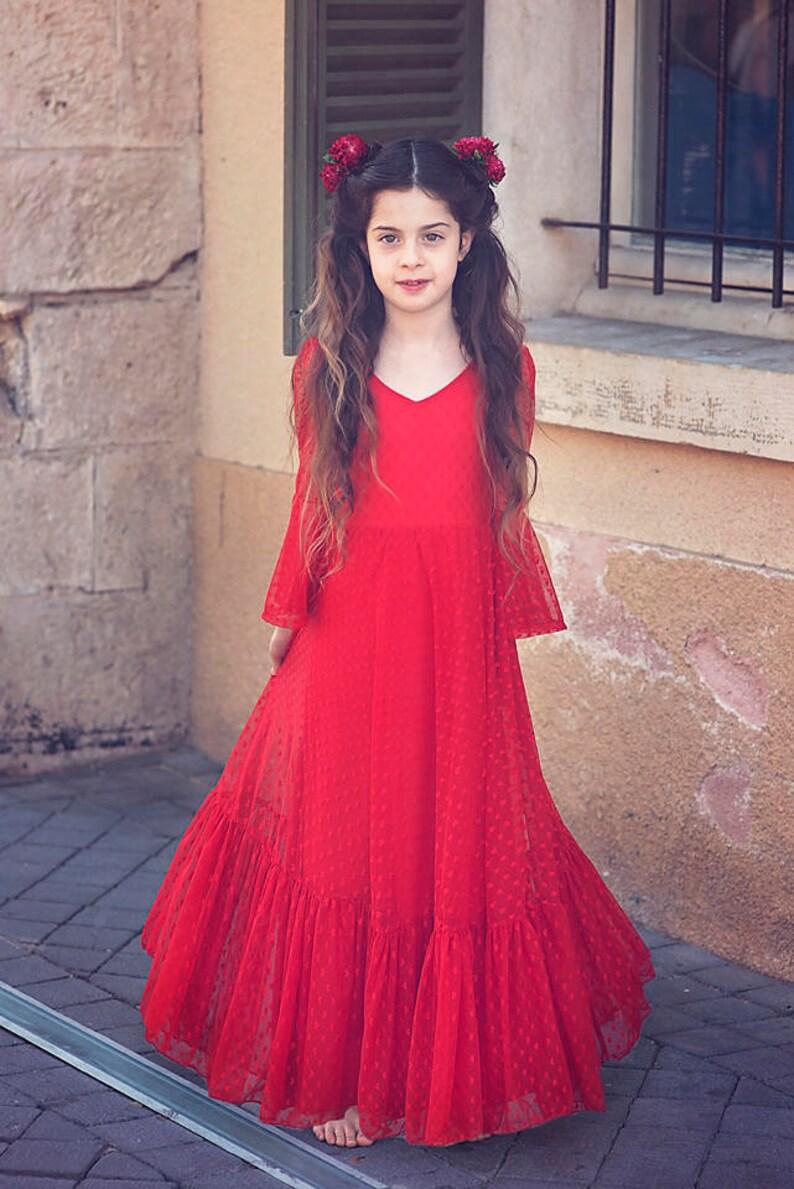 b4b8e73b8680 Girls Christmas Red Lace Dress   Etsy