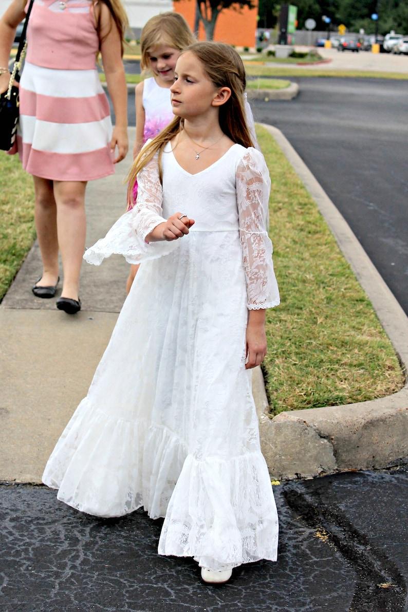 43547dfa912 First Communion Dress Flower Girl White Lace Dress Boho-chic