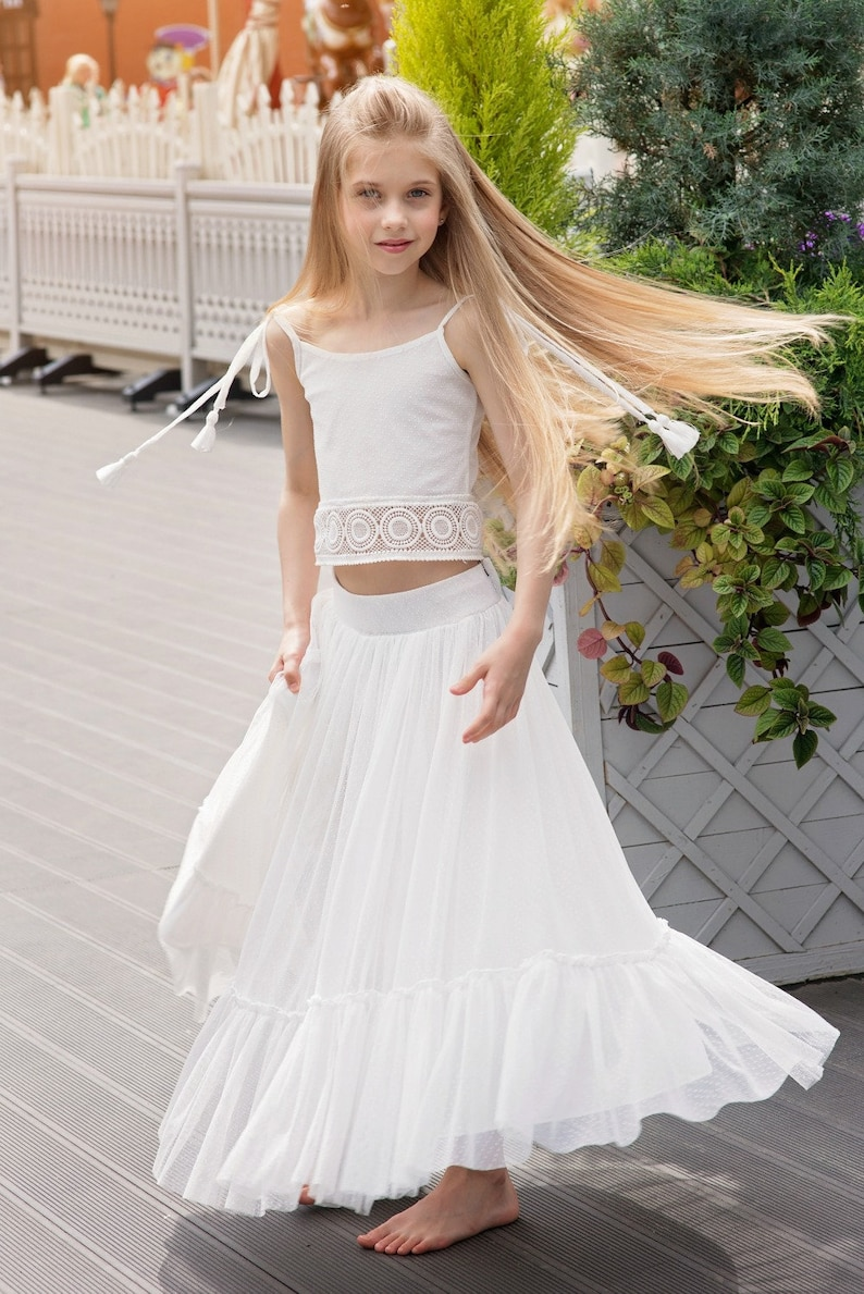 80e60be79cb Boho Flower Girl Dress Junior Bridesmaid Dress skirt and top