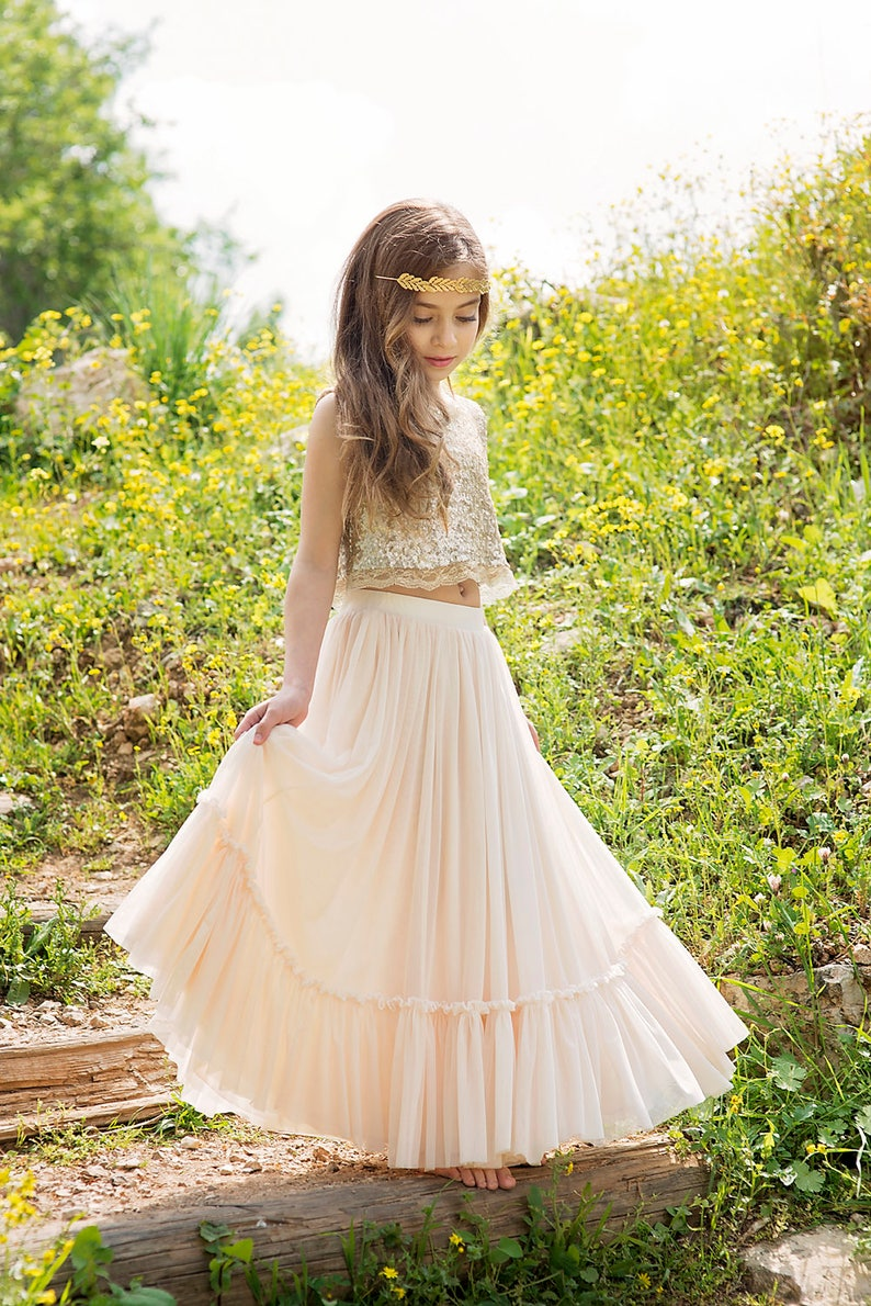 86b8032ffd1 Gold Boho-chic Flower Girl Dress Junior Bridesmaid Dress