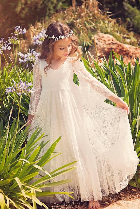 First communion dress flower girl off white lace dress etsy image 0 mightylinksfo