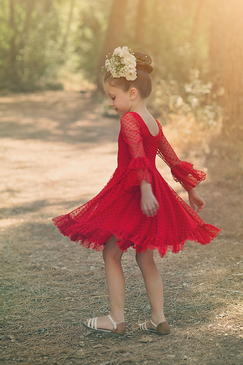 d577f240cd44 Girls Red Lace Christmas Party Dress Twirly Holiday Dress | Etsy