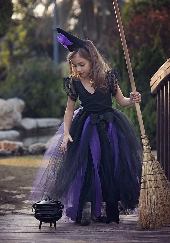 Violet Noir Sorcière Halloween Costume Tutu Jupe Parti Dress Up 1 2 3 4 5 6