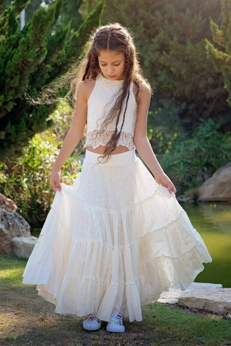 19ebda295b Ivory Boho-chic Flower Girl Dress Junior Bridesmaid Dress | Etsy