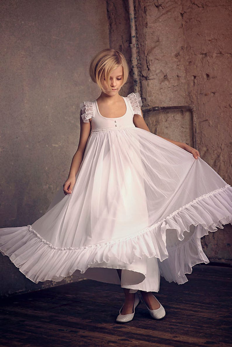 first communion dress flower girl white chiffon dress boho