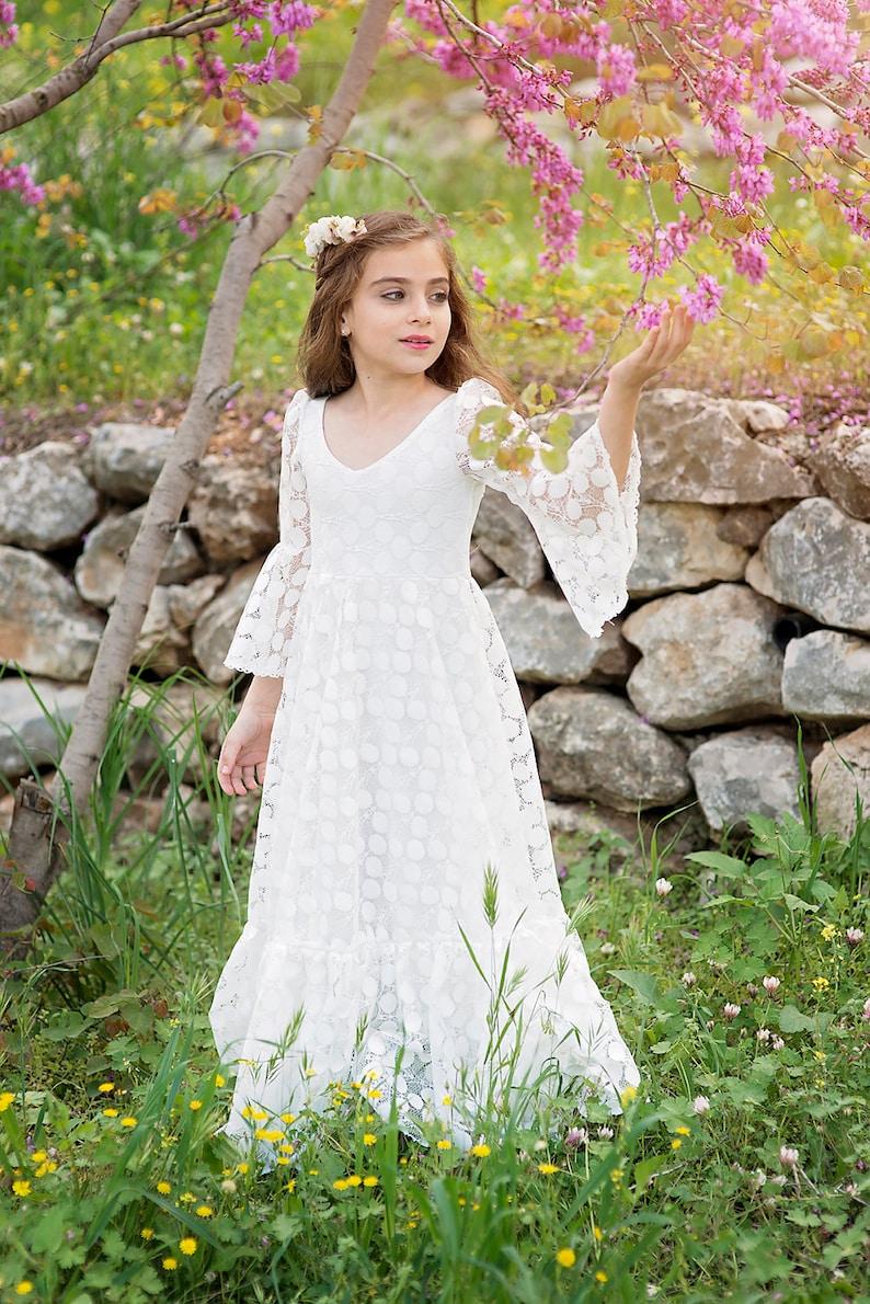 cff602a1f0a1 Prima comunione vestito vestito ragazza di fiore Off White