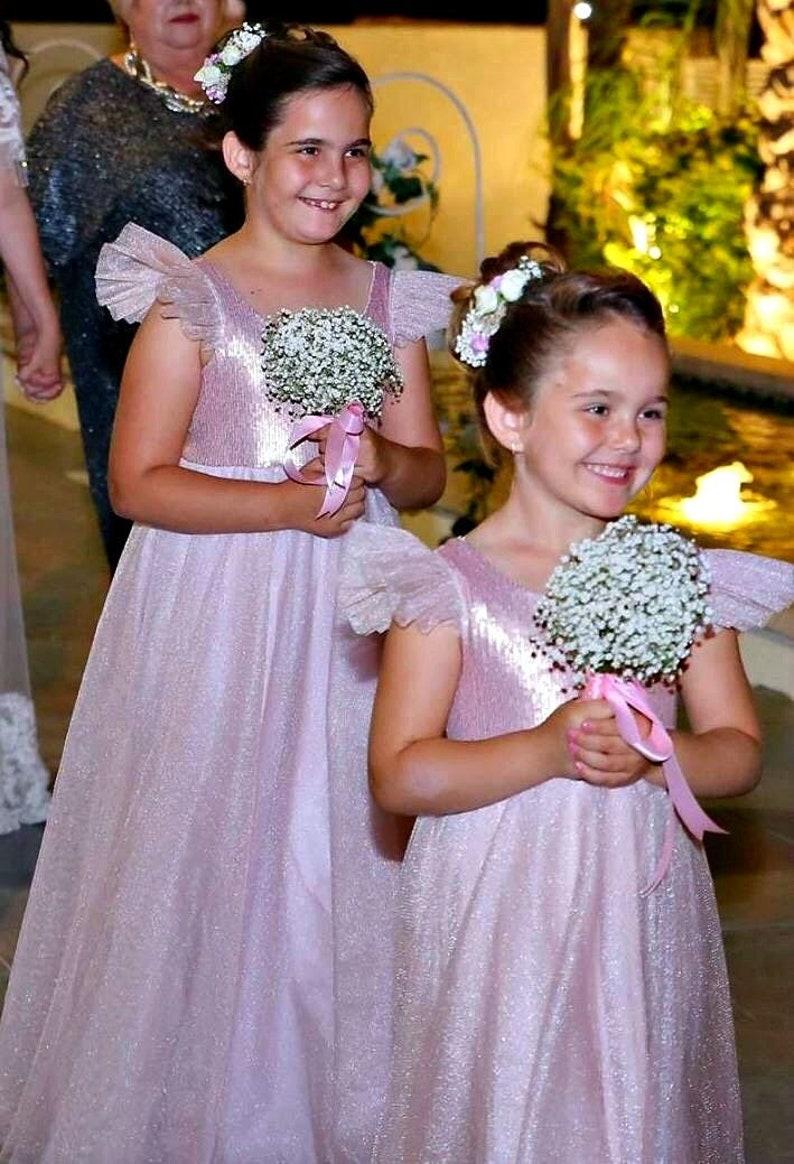 501b6a4e258 Blush Pink Sequin Flower Girl dress dusty rose bridesmaid