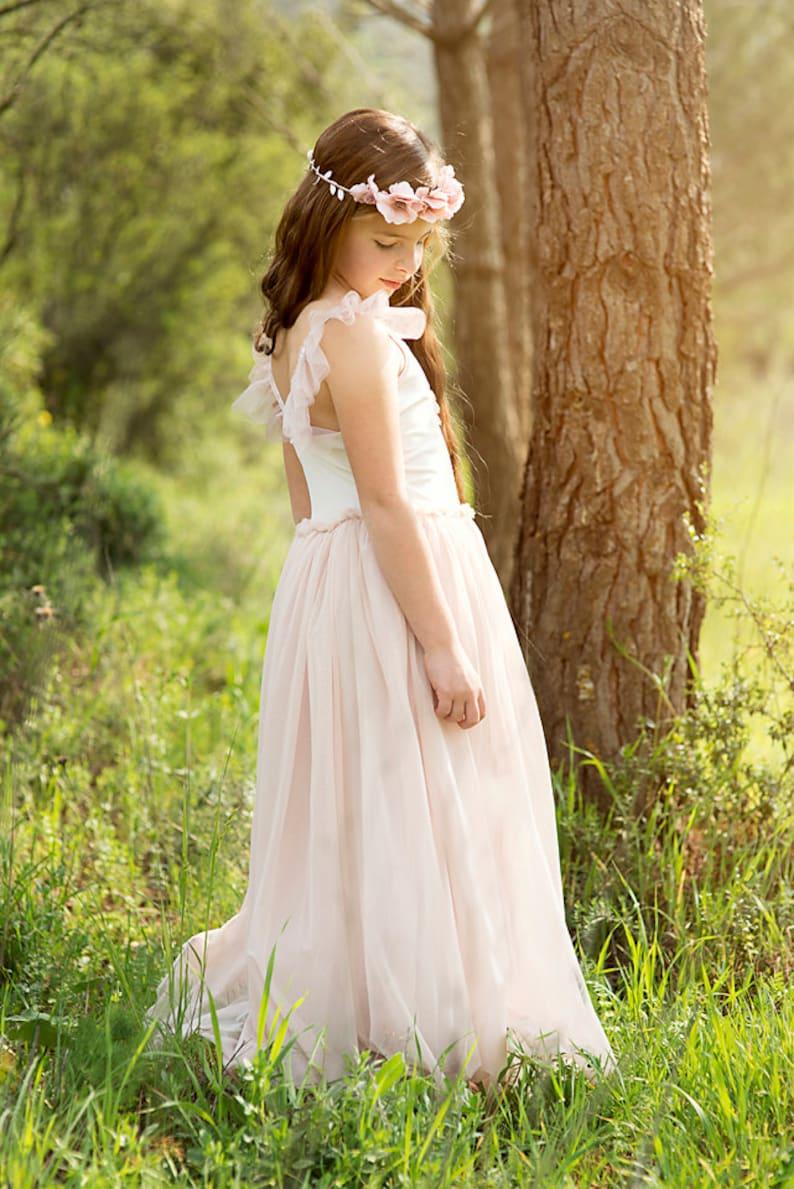 d729a4b2d66 Maxi Blush Pink Flower Girls Dress Flower Girl Dress Wedding