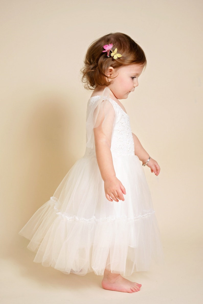 White Flower Girl Dress For Toddlers Tulle and Lace dress
