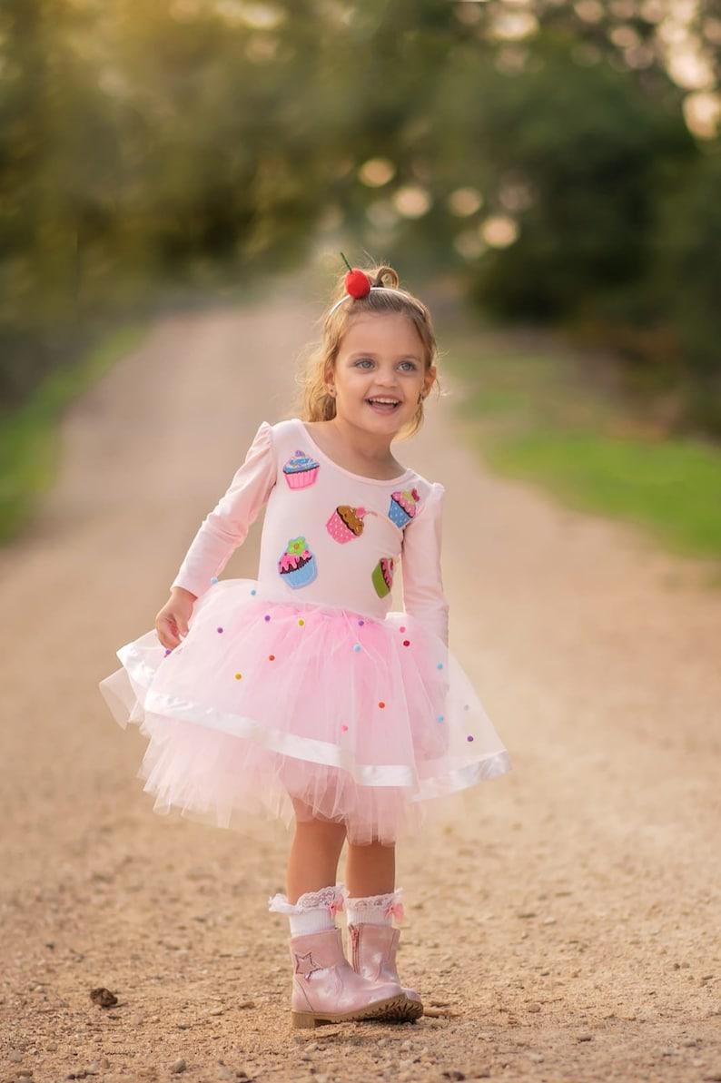 Baby Cupcake Tutu Dress Pink Girls Birthday Outfit