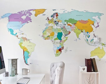 World Map Wall Decal Etsy - World map wallpaper decal