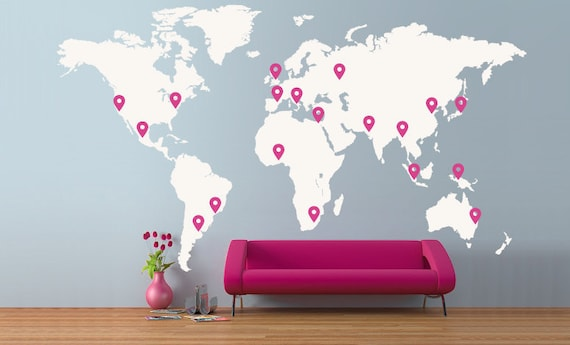 Extra Large World Map 4 X 2 3m 13 X 7 5ft Vinyl Wall Sticker Etsy