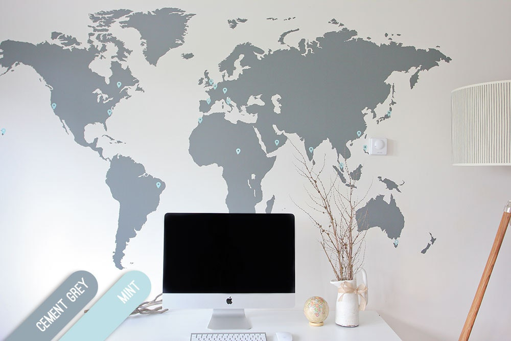 7 x 4 ft World Map Decal Large World Map Vinyl Wall | Etsy