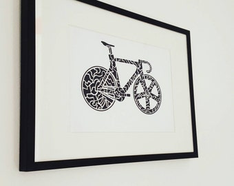 "Fixie Artwork - Fixie Wall Art - Bike Art Print A5 (8.3"" x 5.8"") - Track Bike"