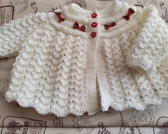 Ready to Ship HAND KNITTED Baby Matinee Set Lemon and White Set