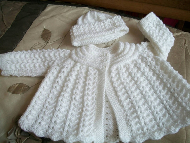 6b11ccf38 Hand Knitted Baby Girls White Matinee Set - Cardigan and Hat-  baptism christening baby shower wedding New baby reborn traditional scottish