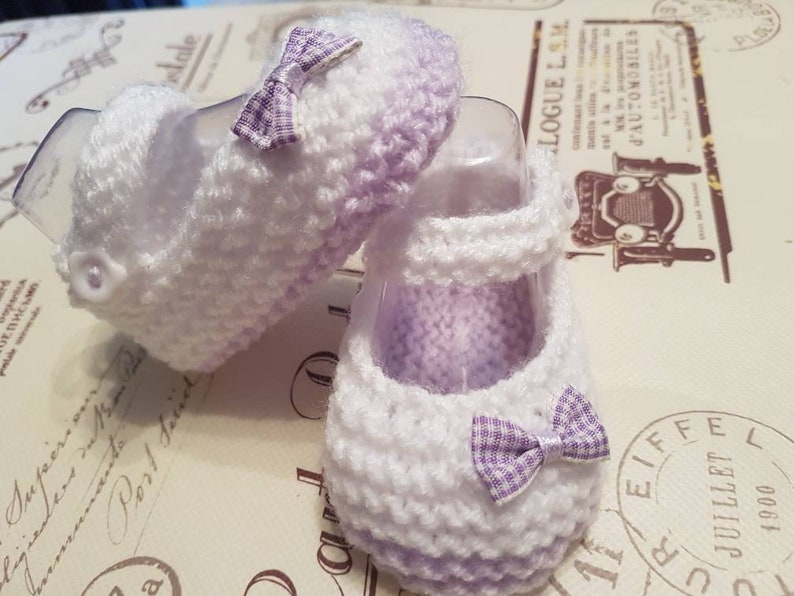 6-9 Reborn Newborn Hand Knitted Red with red gingham bow Baby Shoes 0-3 3-6