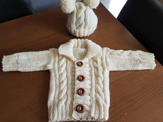 Made to Order Hand Knitted Baby Cabled Cardigan and Hat Set