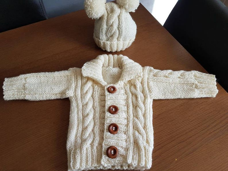 778a011d6 Hand Knitted Baby Boys or Girls Aran Cable Knit Cardigan | Etsy