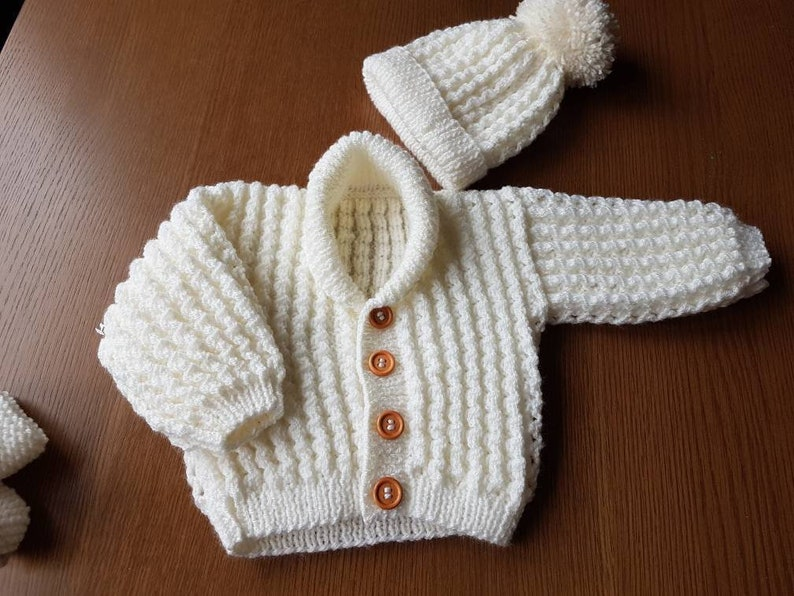 0787a8a4c Hand Knitted Cream Baby Boy or Girl Cardigan and Hat Set with