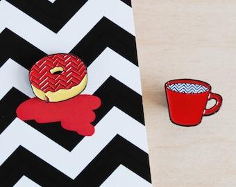 Enamel Pin Badges   Donut & Coffee   Twin Peaks inspired