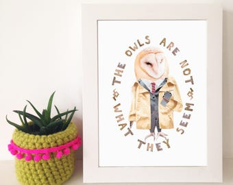 Dale Cooper Twin Peaks Owl Print - David Lynch - A5 digital print